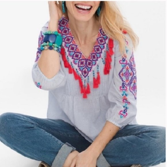 Chico's Tops - CHICO'S Pinstriped Embroidered Tassel Trim Top